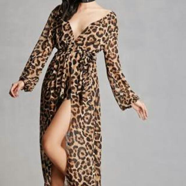 Reverse clothing Maxi Leopard Dress with sash