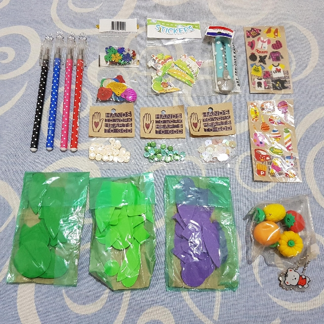 Bundle for 60php - Ballpens, Erasers, Cutter, Sequins, Stickers, Foam Cutouts, etc.