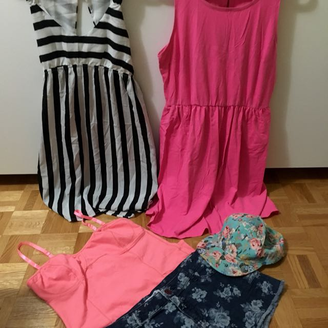 Set 10: H&M Pink Dress(L)| F21 Shorts (31)| Ardene Hat, Dress, Top