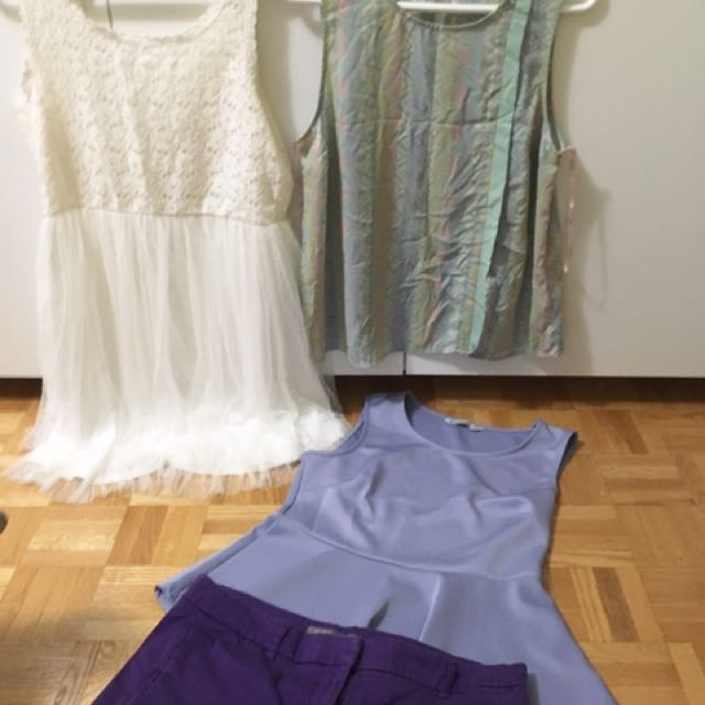 Set 11: Smartset Violet Shorts (12-14)| Ardene White Dress (L)| F21 Top (M) | Bluenotes top (L)