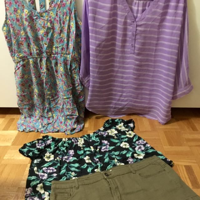 Set 12: Reitmans Olive Shorts(14)| Ardene croptop (L)| Ardene Dress (L)| Old Navy Purple Top (M)