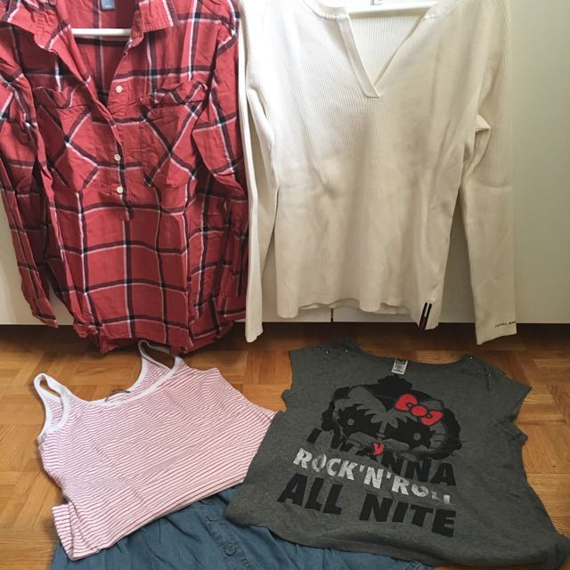 Set 6: Old Navy Checkered (M)| Tommy White(XL)| Smartset (M)| Hello Kitty (M)| Mossimo Denim Skirt (L)