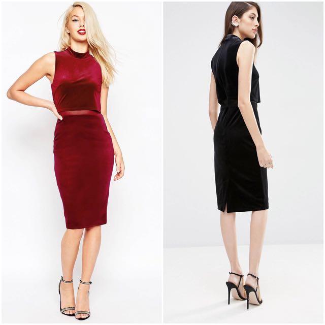 b1c72f2d78a SOLD  ASOS Velvet Midi Dress