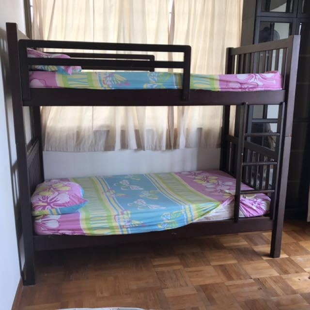 Solid Wood Bunk Bed Hard Indonesian Wood 78x44x70 Inches Super