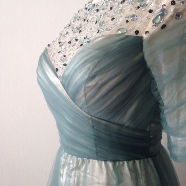 Teal Colour Wedding / Evening Gown