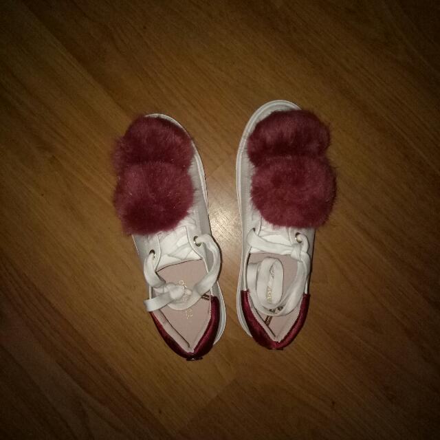 Topshop Faux Fur Pom Pom Sneakers/Shoes