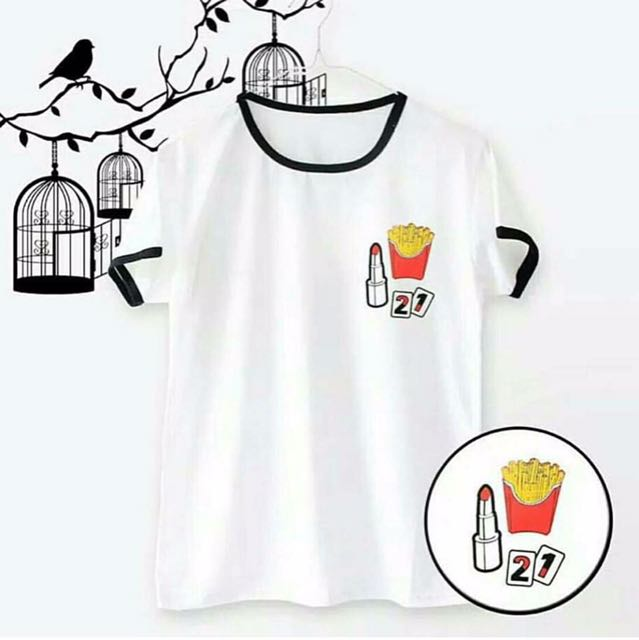 White & black rengertee fries t-shirt