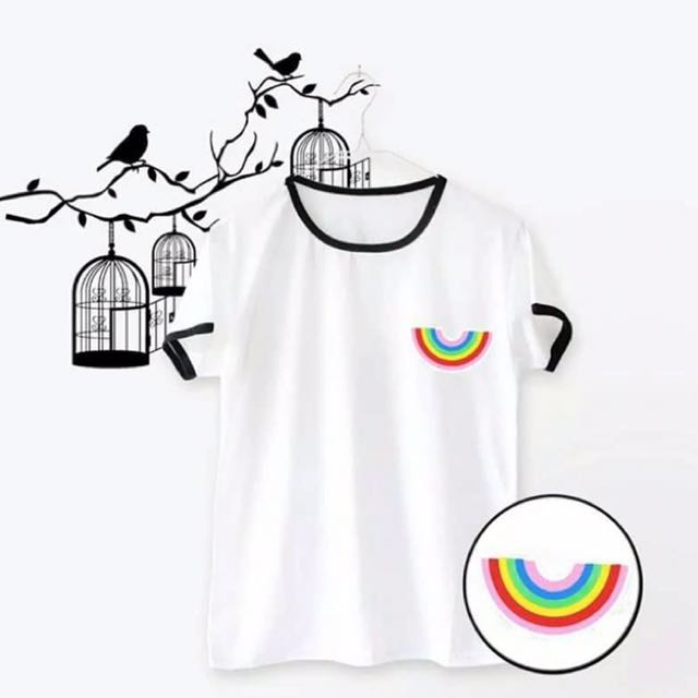 White & black rengertee rainbow t-shirt