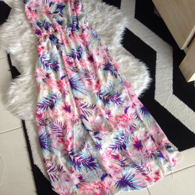 White Colorful Floral Maxi Dress Size 8-10