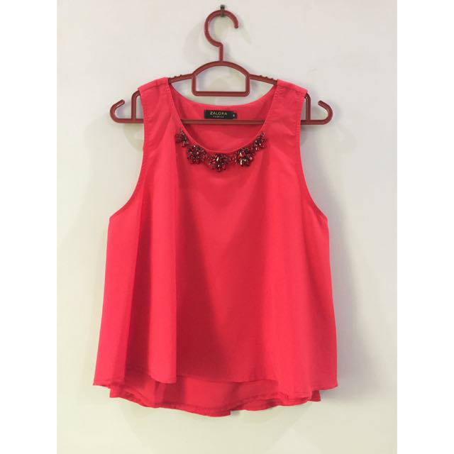 Zalora Red Blouse Top with Beaded Neckline