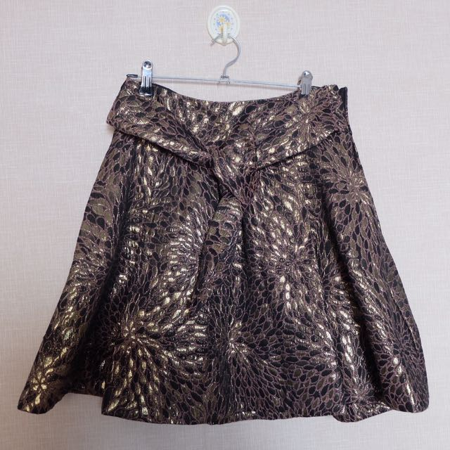 ZARA Jacquard Gold Skirt