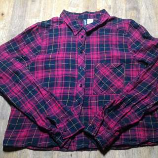 Divided by H&M Cropped Plaid Flannel