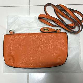 Orange Sling Bag with Card Compartment