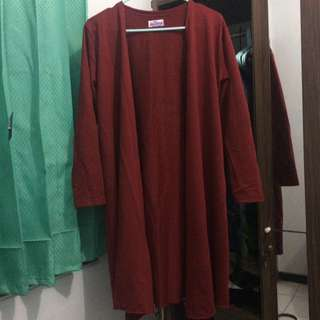 Outter Cardigan Merah Maroon