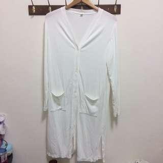 Uniqlo白色長版 針織外套 防曬外套 L  只穿兩三次