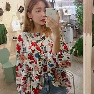 (降價)韓 復古花卉印花襯衫