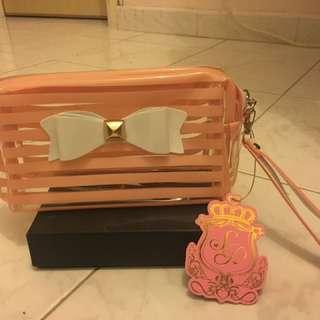 日本粉系少女蝴蝶結化妝袋(包郵)