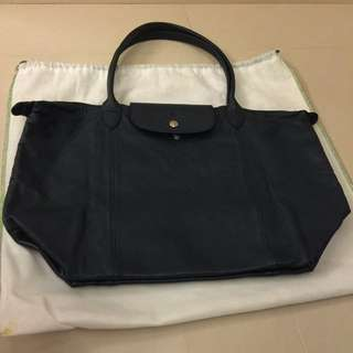 Longchamp深藍摺疊款長帶羊皮包