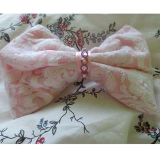 Lolita Style Lace Pink Bow Accessory