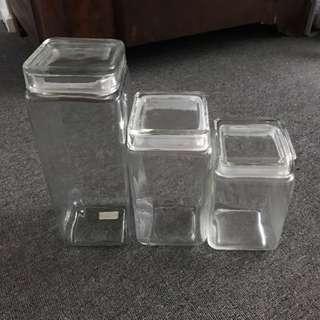 3 Glass Storage Jars