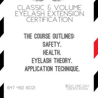 $500 Classic & Volume Eyelash Extension Certification