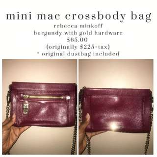 rebecca minkoff - mini mac crossbody bag - burgundy