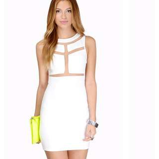 White bodycon dress with panels