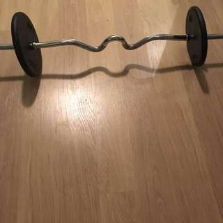 Ez Curl Barbell + 2 x 25 pound weights