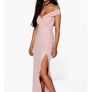 Rose Off The Shoulder Wrap Evening & Formal Dress