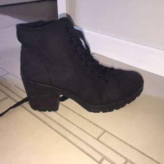 black lace up heeled boots