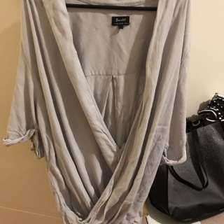 Bardot wrap top size 12 grey steel
