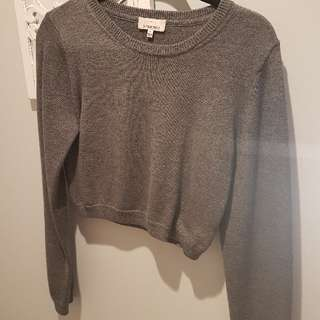 Best offer!!! Aritzia Sundays Best Grey Crop Sweater Large