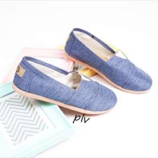 flat shoes biru salur blue like wakai