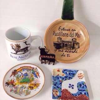 西班牙杯子小圓盤小方盤手柄握盤- 西班牙帶回記念品