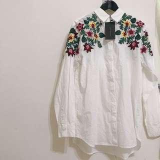 Zara  棉質 滿版 刺繡花襯衫