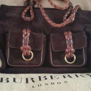 Burberry Suede Braided Leather Bag