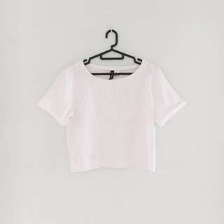H&M Lace Embossed Details White Top