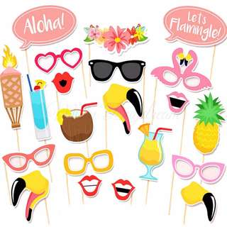 Flamingo Summer Party Wedding Photo booth Props Set of 21