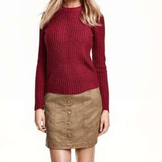H&M Maroon V Neck Sweater