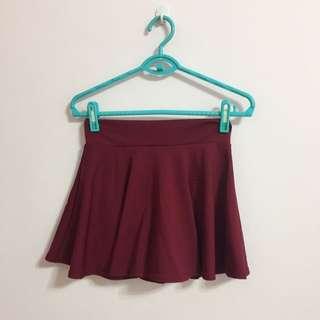 全新高質感酒紅色太陽短裙褲裙