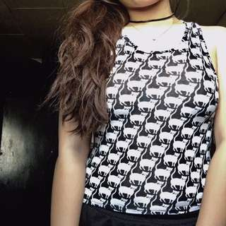 Cat Printed Sleeveless Top