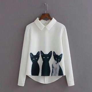 Kitten White Blouse