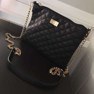 Colette Black Quilted Bag Chain