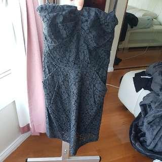Forcast Strapless Black Lace Dress Size 6