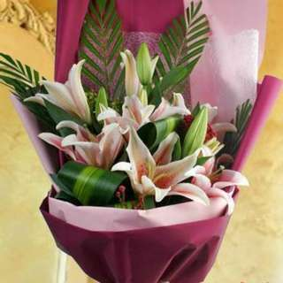 Wishing you Happiness, Wealth and Success Oriental Lily Designer Bouquet w/ FREE DELIVERY + GIFT CARD