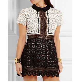 SELF-PORTRAIT BLACK AND WHITE FELICIA TWO-TONE GUIPURE LACE MINI DRESS