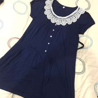 Brand New Navy Blue Maternity and Nursing Dress with Lace Collar