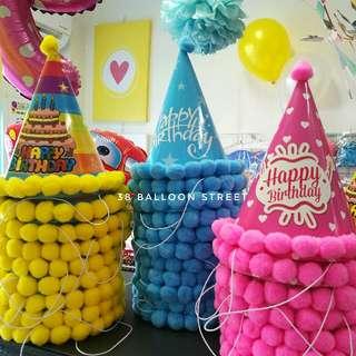 Pompoms Party Hat - Birthday