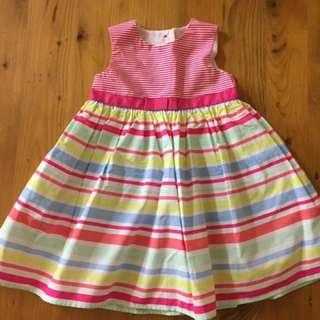 Girls Multi Stripe Summer Dress - Size 12-18 mths