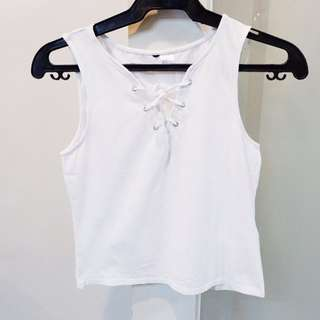 H&M White Lace Up Sleeveless